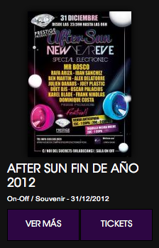 Fin de año: AfterSun special electronic night. Sala ON-OFF/Souvenir de Viladecans.
