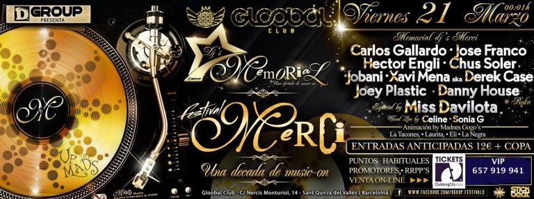 Memorial dj's en Gloobal Club, sábado 22 de marzo.
