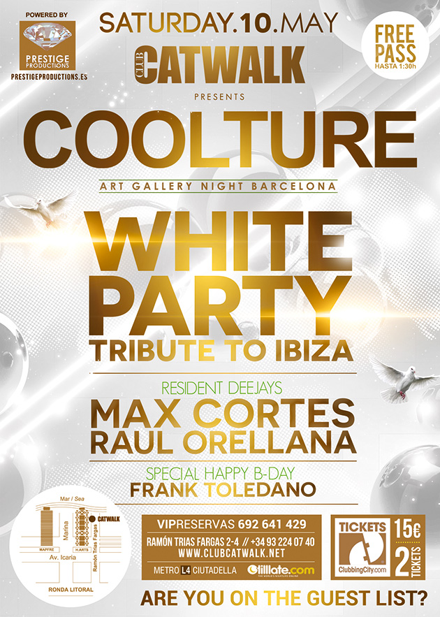 White Party at Coolture Catwalk Barcelona. Lista invitados y entradas anticipadas.