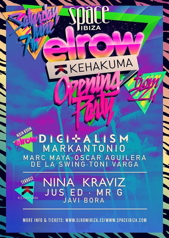 elRow y Kehakuma en Space Ibiza, todos los sábados. Opening sábado 7 mayo.