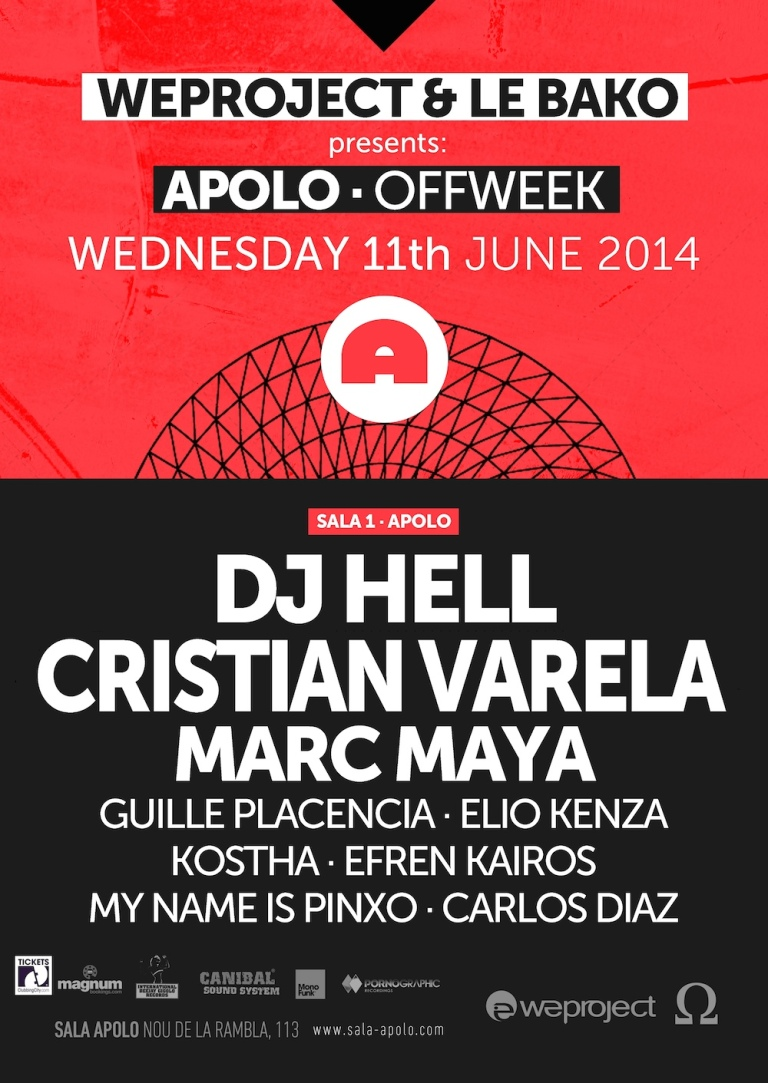 We Project & Le Bako: OFF WEEK, miércoles 11 de junio en sala Apolo.